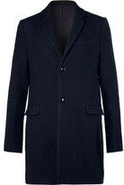 Folk Wool And Cotton-blend Overcoat - Navy
