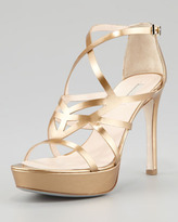 Giorgio Armani Matte Metallic Strappy Platform Sandal, Gold