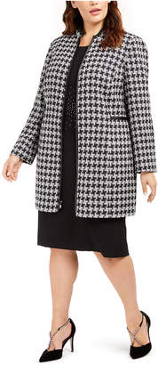 Kasper Plus Size Houndstooth Printed Topper Jacket