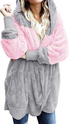 waitFOR Sale Women Oversized Open Front Warm Sweatshirt Ladies Plus Size Open Front Hooded Fleece Coat with Draped Pockets Cardigan Winter Solid Color/Leopard Print Stitching Overcoat Outerwear Black