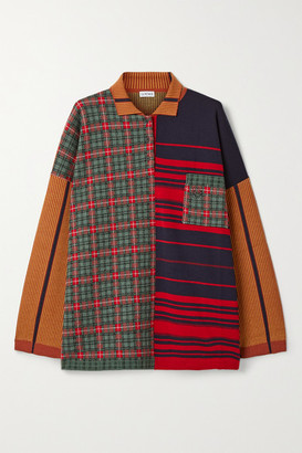 Loewe Oversized Patchwork Wool-blend Sweater - Red