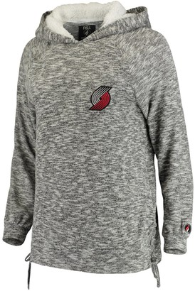 Women's FISLL Heathered Gray Portland Trail Blazers Side Lace Sherpa Hacci Tri-Blend Pullover Hoodie