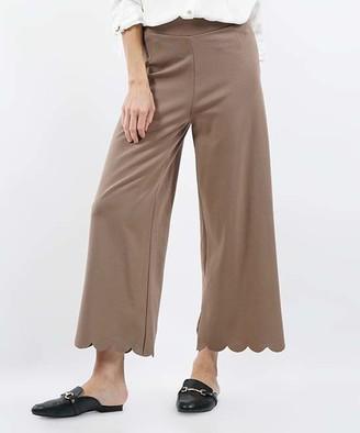 Lydiane Women's Casual Pants MOCHA - Mocha Scallop-Hem High-Rise Crop Pants - Women & Plus