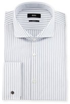HUGO BOSS Jaiden Slim-Fit Track-Stripe French-Cuff Dress Shirt, White