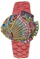 """Heidi Daus Gone Fishing"""" Crystal Covered-Dial Leather Strap Watch"""