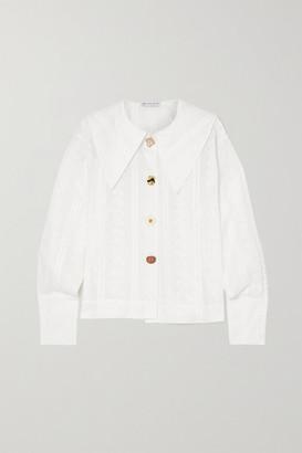REJINA PYO Elliot Broderie Anglaise Cotton Shirt - White