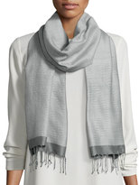 Eileen Fisher Hand-Loomed Wool/Silk Pathways Scarf, Pewter