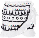 Dodo Bar Or - Abigail Embellished Cotton-gauze Wrap Mini Skirt - White
