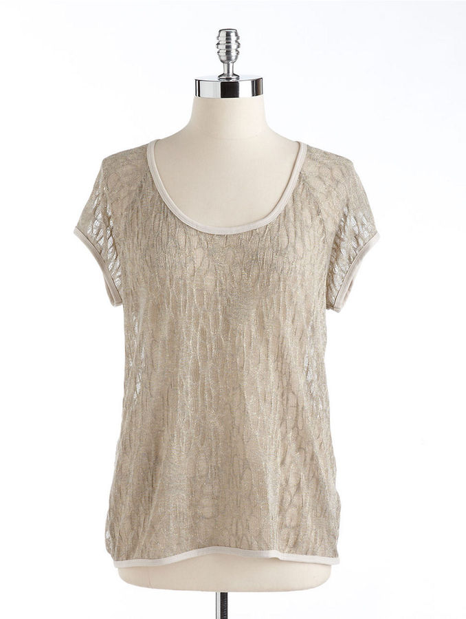Vince Camuto TWO BY Sheer Metallic Tee