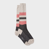 Paul Smith Women's Long Off-White Glittery Block Stripe Socks