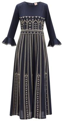Le Sirenuse, Positano - Tracey Embroidered Cotton-poplin Dress - Navy
