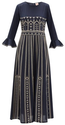 Le Sirenuse Le Sirenuse, Positano - Tracey Embroidered Cotton-poplin Dress - Womens - Navy