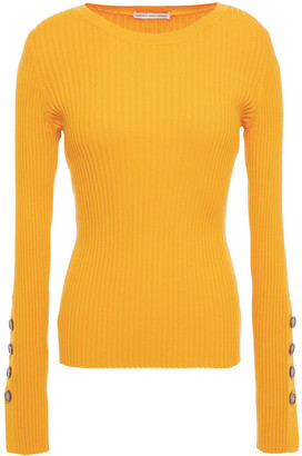 Cotton By Autumn Cashmere Button-detailed Ribbed Cotton-blend Sweater