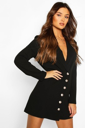 boohoo Military Button Blazer Dress