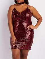 Charlotte Russe Plus Size Sequin Notched Bodycon Dress