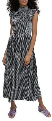 Kate Spade Printed Flutter-Sleeve Midi Dress