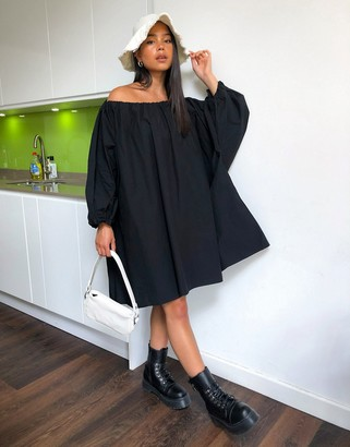 Weekday Tuva organic cotton volume dress in black