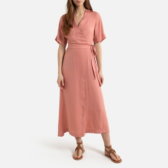 La Redoute Collections Wrapover Midi Dress with Short Sleeves