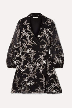 Alice + Olivia Gaston Devore Silk-blend Chiffon Wrap Mini Dress - Black