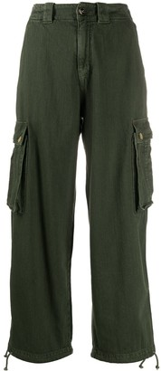 Semi-Couture High-Rise Cropped Cargo Trousers