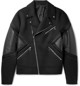 Neil Barrett Leather-Panelled Bonded Jersey Biker Jacket