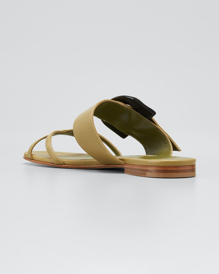 Thumbnail for your product : Manolo Blahnik Lambskin Crisscross Buckle Sandals