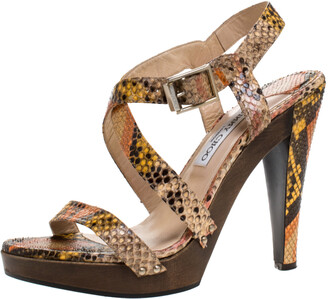 Jimmy Choo Multicolor Python Unity Strappy Wooden Sandals Size 40