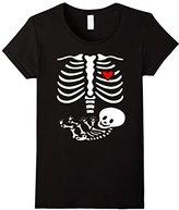 Women's Women's Pregnant Skeleton Costume Halloween Shirt Small