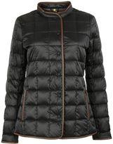 Fay Black Leather Trim Down Jacket