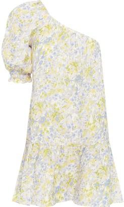 Peony Swimwear Floral Print One-Shoulder Mini Dress