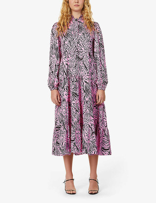 Kitri Natalia animal-print satin maxi dress