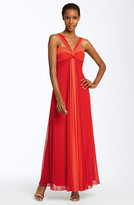 Colorblock Mesh Gown