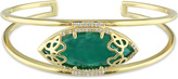 Julianna B 12 7/9 CT TW Green Onyx and Diamond Yellow-Plated Silver Cuff Bracelet