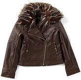 Jessica Simpson Big Girls 7-16 Faux-Fur-Trimmed Faux-Leather Motorcycle Jacket