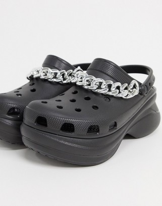 Crocs Bae platform shoes with chain detail in black