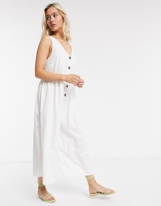 ASOS DESIGN button front smock jumpsuit in white