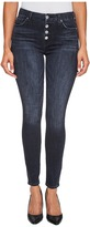 7 For All Mankind The High Waist Ankle Jeans w/ Exposed Button Fly in Authentic Black Women's Jeans