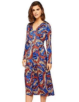 find. Women's Abstract Print Midi Dress, Blue, 8 (Size: X-Small)