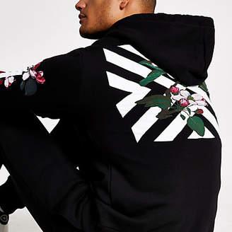 Hype black chevron floral print hoodie