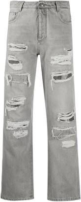Ermanno Scervino Distressed Straight Leg Jeans