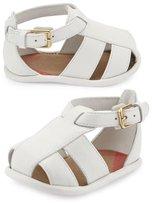 Burberry N1-Ruislip Newborn Leather Strappy Sandal, Optic White