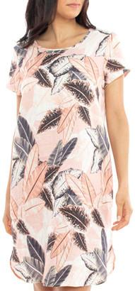 Jump Linen Leaf Print Dress