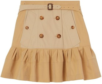 Burberry fluted two-tone A-line skirt