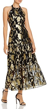 Milly Metallic Floral Chiffon Halter Gown