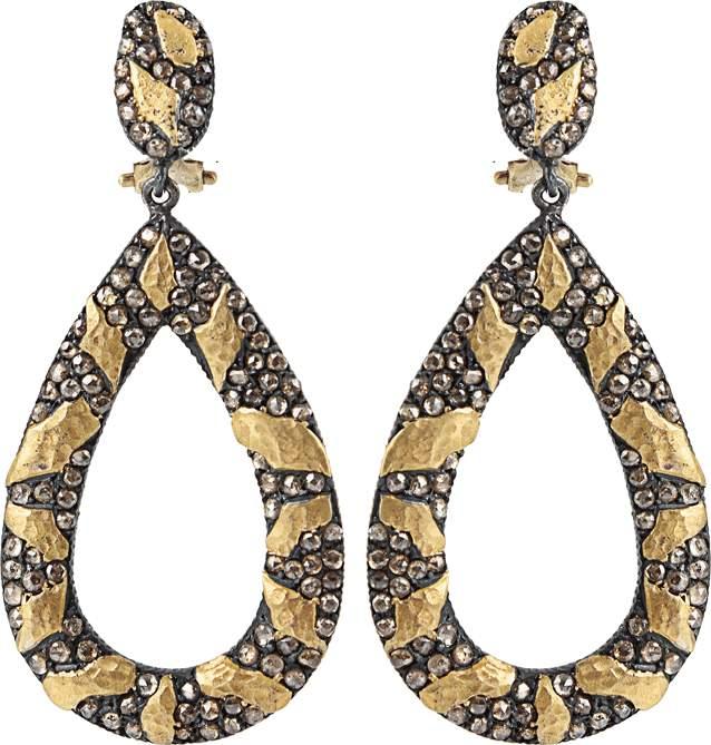 Yossi Harari Libra Cognac-Diamond Drop Earrings