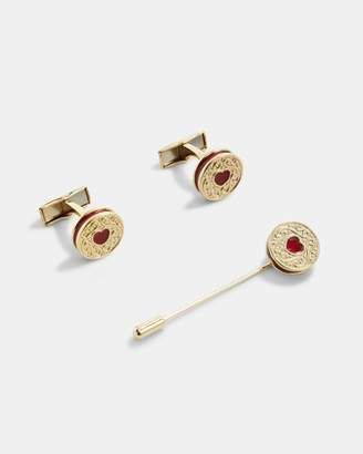 Ted Baker Biscuit Cufflinks And Lapel Pin Set