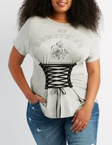 Charlotte Russe Plus Size Corset-Detail Graphic Tee