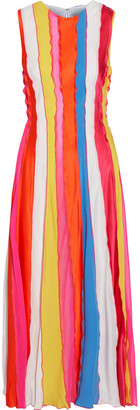 Prabal Gurung Ruffle-trimmed Striped Silk Crepe De Chine Midi Dress