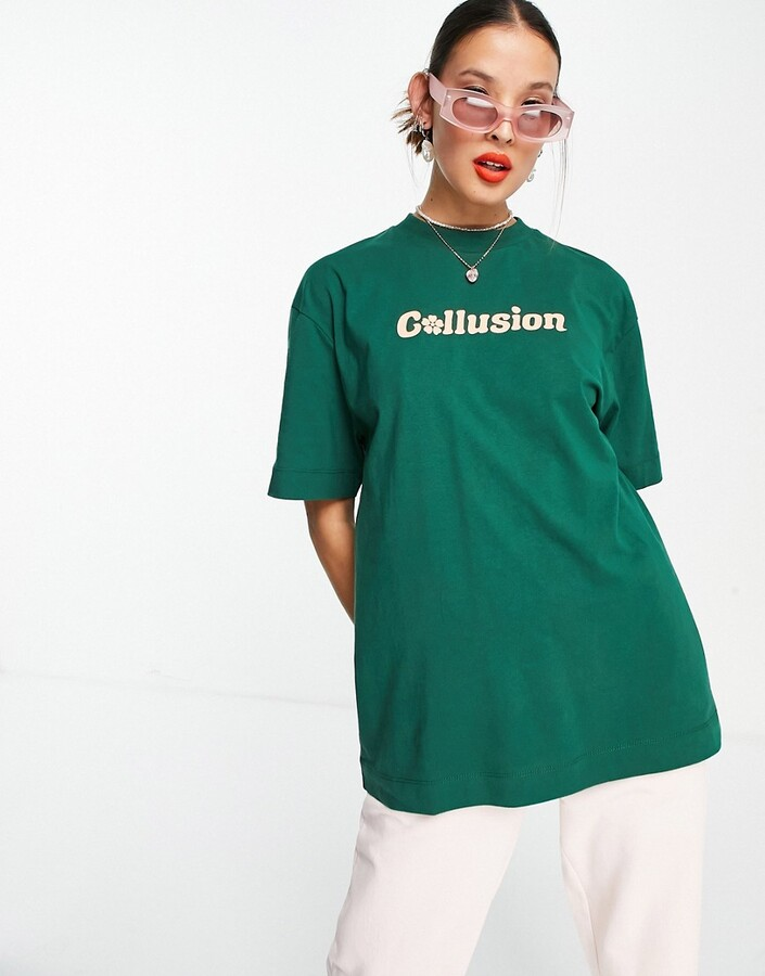 Thumbnail for your product : Collusion Unisex t-shirt with logo print in khaki co-ord