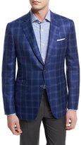 Isaia Cashmere-Blend Plaid Sport Coat, Blue/Gray